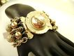 HUGE Multi-Chain Goldtone Bracelet w/Large Disc Clasp
