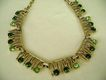 VINTAGE Shades of Green Rhinestones Choker
