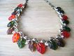 Choker of Carved Thermoset Leaves Autumn Shades w/Aurora Borealis