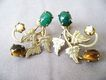 Tiger Eye, Jade & Pearl Gold Plated Leaf Screwbacks