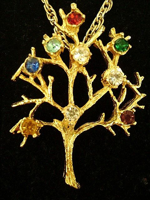 Lovely Multi-Rhinestone Family Tree Pendant on Chain