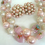VINTAGE 1950s Pink Glass Multi-strand Bib Necklace w/Bonus