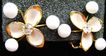 VINTAGE White Floral Painted Clips w/Glass Beads & Rhinestone