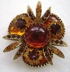 VINTAGE Multi-layer Shades of Topaz, Citrine, Butterscotch Rhinestone Brooch