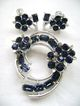 Vintage LISNER Deep Blue Rhinestone Floral Demi-Pin/Screw Backs