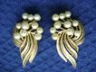 Vintage TRIFARI Faux Pearl Gold Tone Clip Earrings