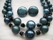 Rich Blue Glass Faux Pearl & Crystal Multi-Strand & Button Clips from Japan