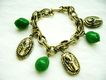 Retro Gold Tone Egyptian Charm & Green Bead Charm Bracelet