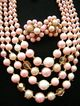 Vintage 50s JAPAN Multi-Strand Demi Pink Glass w/Crystals