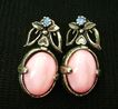 VINTAGE Reversible Pink/White Stone Screwbacks w/Blue Rhinestones