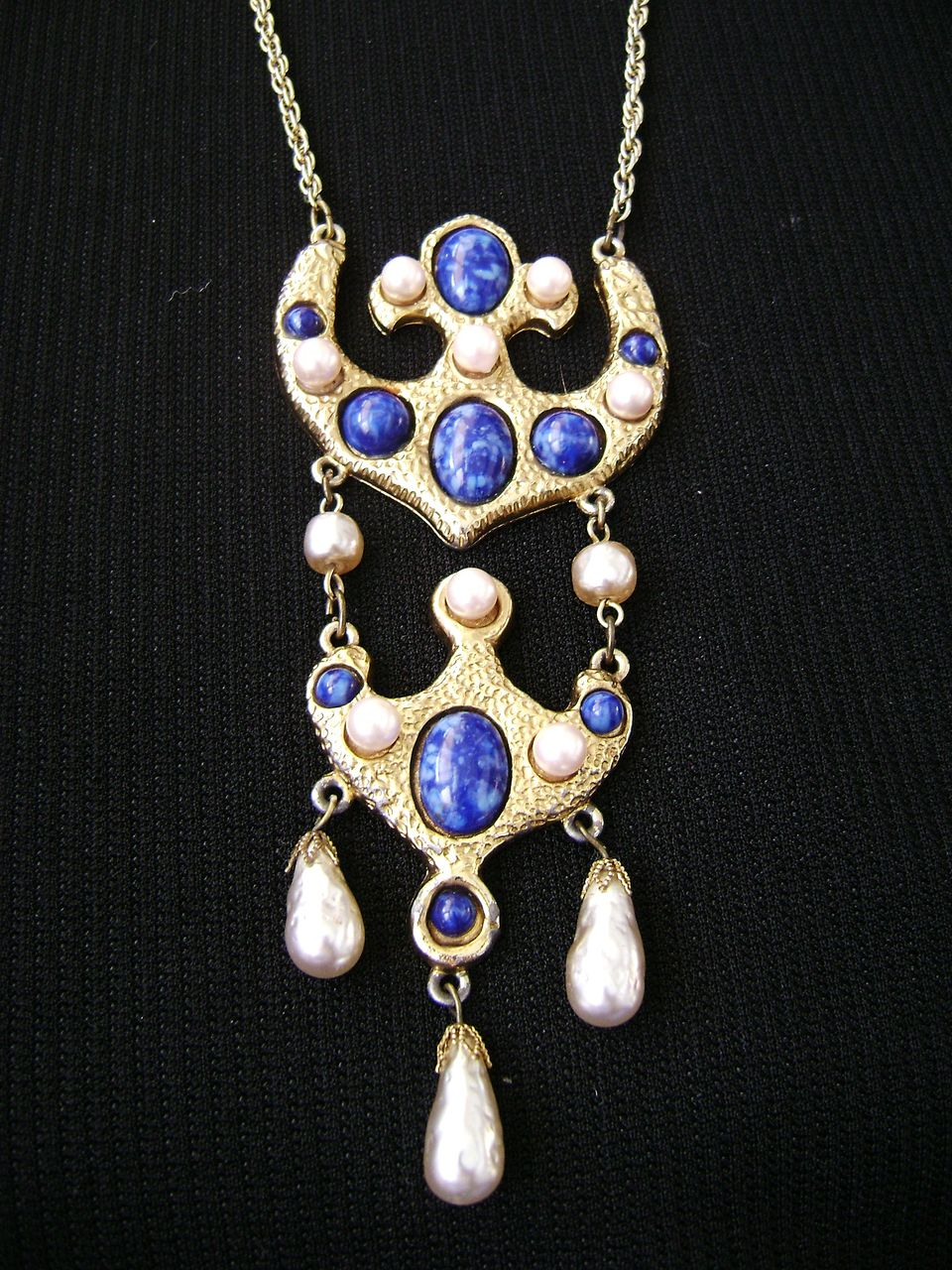 Egyptian Revival Lapis & Faux Pearl Articulated Gold Tone Pendant