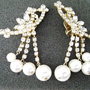 Fab Vintage All Out Bling Rhinestone & Pearl Clip Earrings