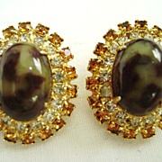 Great VINTAGE Clips - Leopard Stone with Clear & Yellow Rhinestones