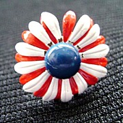 Vintage Red, White & Blue Enamel Flower Power Ring - Adjustable