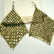 RETRO Brass Tone Liquid Mesh Earrings - Pierced NOS