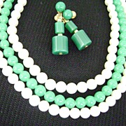 JAPAN Vintage  Green Glass & Faux Pearl MultiStrand w/Dangle Screwbacks