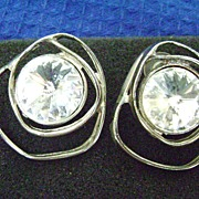 Huge MODERNIST Clear Rivoli Rhinestone Free form Setting Pierced Earrings