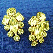 Stunning Vintage LIMONE Rhinestone Clip Earrings