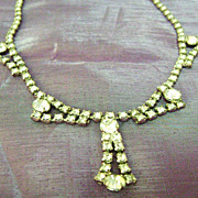 Vintage Clear All Rhinestone Bib Lavalier Necklace - Garne Jewelry Co.