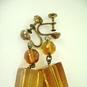 Magnificent Golden Cube Glass Vintage Screw Back Earrings