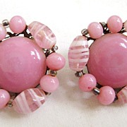 JAPAN Pink Glass 50's Clip Earrings