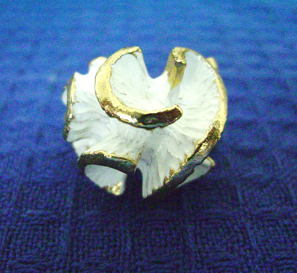 Vintage White Enamel VOGUE Curled Wave Adjustable Ring