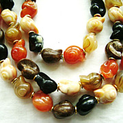 Luxuriant 50s MultiStrand in Fall Shades Sea Shell Shaped Beads