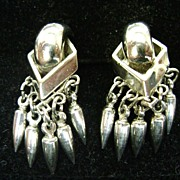 Silver Tone Vintage Modernist Screw Backs w/Tassel Dangles