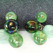 Gorgeous VOGUE Cluster of Green Glass Beads Clip Earrings