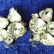 Glistening Vintage Rhinestone Spray Earring Clips from AUSTRIA