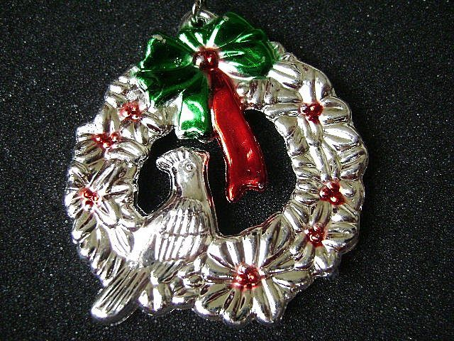 Vintage Aluminum Partridge in Christmas Wreath Pendant