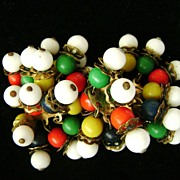 Vintage Glass Bead Multi-color Dangling Multi-Strand Clip Earring