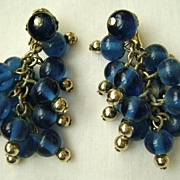 Vintage KRAMER Dangling Cluster of Blue Glass Beads Clip Earrings