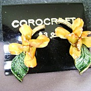 Gorgeous Vintage Enamel Orchid Clip Earrings