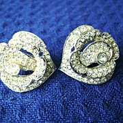 Vintage VENDOME Clear Rhinestone Cluster Clip Earrings