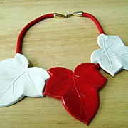 Early Vintage Red & White Enamel Maple Leaves Choker on Cord