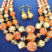 Orange & Gold Plastic Glitter Bead Japan MultiStrand w/Drop Screwbacks