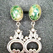 Vintage Sterling & Stone Drop Screw Back Earrings