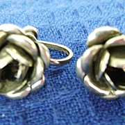 Vintage Sterling Rose Screw Back Earrings