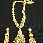 Gold Tone Multi-Chain Fringe Pendant & Clip Earrings