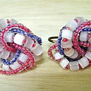 Red, White & Blue Vintage Glass Beaded Knot Screw Backs