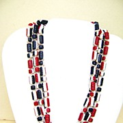 Plastic Red, White & Blue Vintage Flapper Necklace