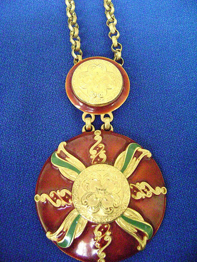 Large Retro Enamel Double Pendant on Rolo Chain, Gold Tone