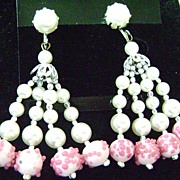 Fabulous Vintage Multi-strand Dangling Screw Backs-Glass Faux Pearl & Pink Bead