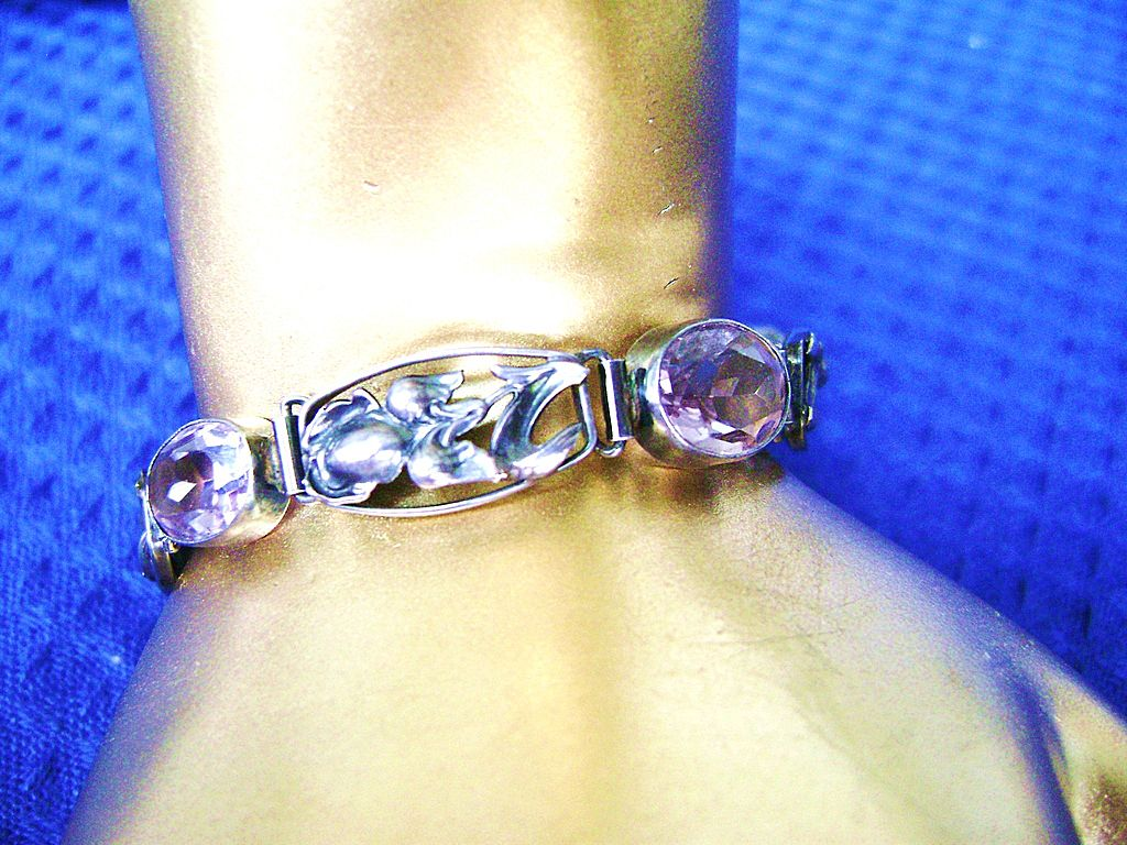 Vintage Sterling & 4 Carat Amethyst Bracelet from Germany
