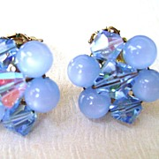 Glass Blue Moonglow and Crystal Cluster Clip Earrings