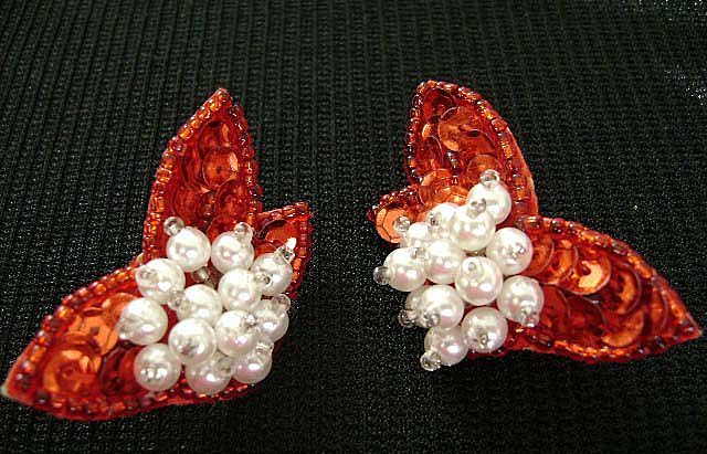 Hand Crafted Red Sequin & Faux Pearl Holiday Clip Earrings