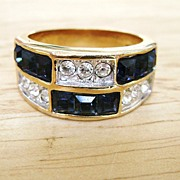 Unisex Channel-Set Blue & Clear Rhinestone Band Ring Sz 7