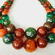 Vibrant Fall Shades VINTAGE MultiStrand Beaded Necklace