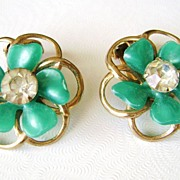 Green Plastic & Clear Rhinestone Vintage Clip Posie Earrings